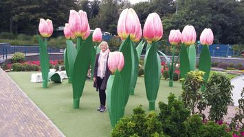 B.L. Mehnert admiring the tulips in the Netherlands