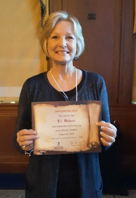 "B L Mehnert wins award for ""Three Dresses"" at Writer Con in Sept 2019."